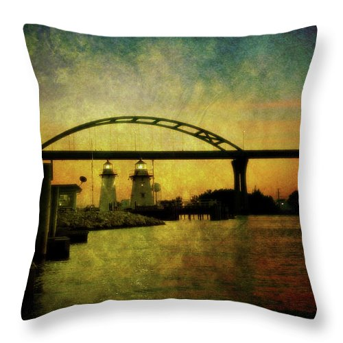 Grassy Throw Pillow featuring the photograph Grassy Island Lighthouses by Joel Witmeyer