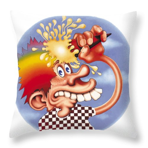 Steal Your Face Throw Pillow featuring the digital art Grateful Dead Europe 72' by Gd