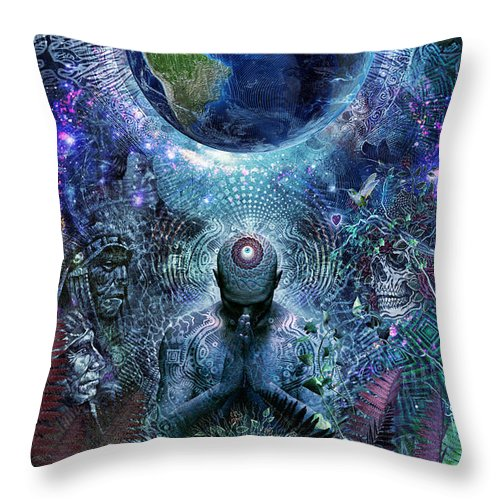 Cameron Gray Throw Pillow featuring the digital art Gratitude For The Earth And Sky by Cameron Gray