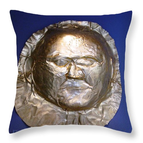 Mycenaean Gold Mask Throw Pillow featuring the photograph Grave Mask by Andonis Katanos