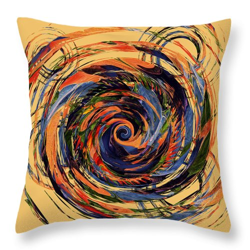 Abstract Throw Pillow featuring the digital art Gravity In Color by Deborah Smith