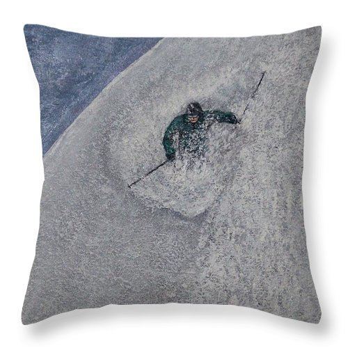 Ski Throw Pillow featuring the painting Gravity by Michael Cuozzo