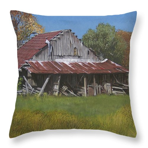 Landscape Throw Pillow featuring the painting Gray Farm Building by Peter Muzyka