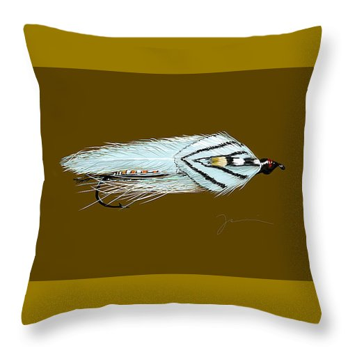 Fly Throw Pillow featuring the painting Gray Ghost by Jean Pacheco Ravinski