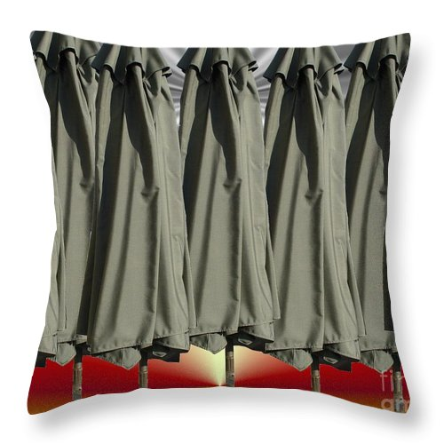 Unbrella Art Throw Pillow featuring the digital art Gray Over Red Sky by Ron Bissett