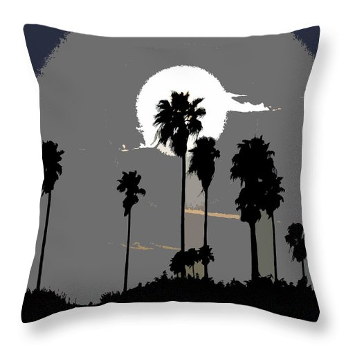Palms Throw Pillow featuring the painting Gray Palms by David Lee Thompson