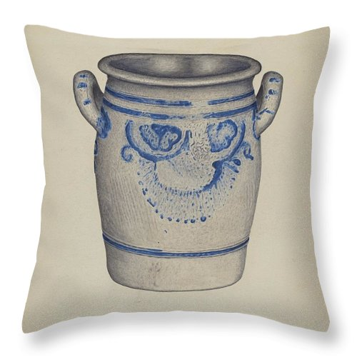 Throw Pillow featuring the drawing Gray Pottery Jar by Gerald Scalise
