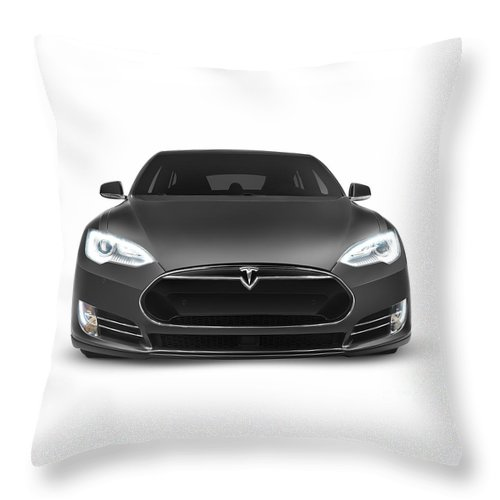 Tesla Throw Pillow featuring the photograph Gray Tesla Model S Luxury Electric Car Front View Isolated On Wh by Oleksiy Maksymenko