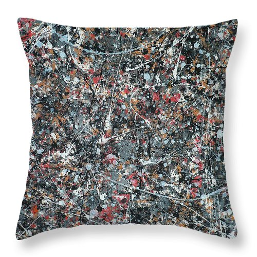 Abstract Throw Pillow featuring the painting Gray Thing by Ericka Herazo