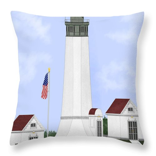 Lighthouse Throw Pillow featuring the painting Grays Harbor Light Station Historic View by Anne Norskog