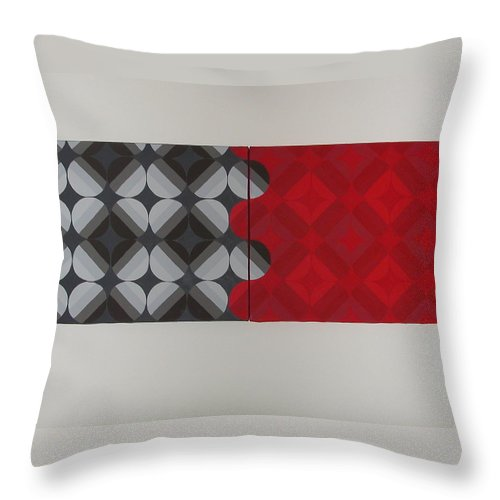 Red Circles Throw Pillow featuring the painting Gray's Red Anatomy by Gay Dallek