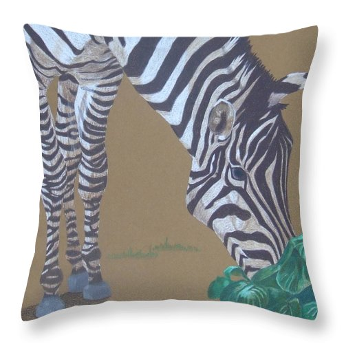 Zebra Throw Pillow featuring the painting Grazing At The Salad Bar by Anita Putman