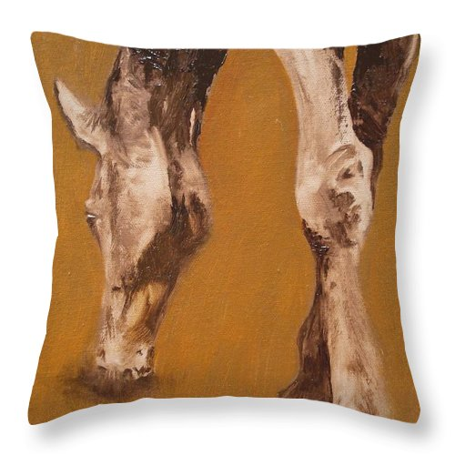 Animals Throw Pillow featuring the painting Grazing by Barbara Andolsek
