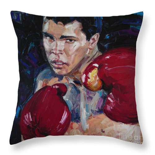 Figurative Throw Pillow featuring the painting Great Ali by Sergey Ignatenko