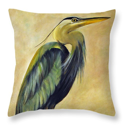 Egert Throw Pillow featuring the painting Great Blue Heron by Carolyn Shireman