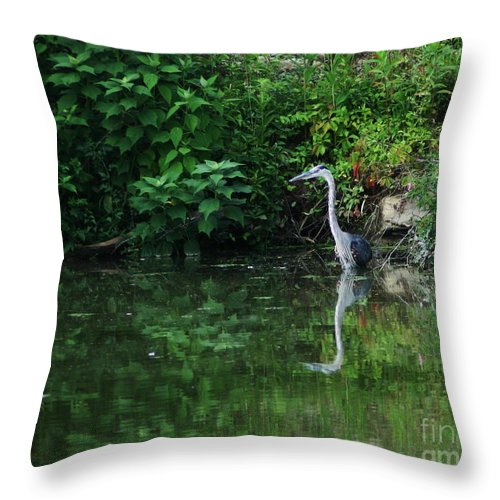 Lanscape Water Bird Crane Heron Blue Green Flowers Great Photograph Throw Pillow featuring the photograph Great Blue Heron Hunting Fish by Dawn Downour