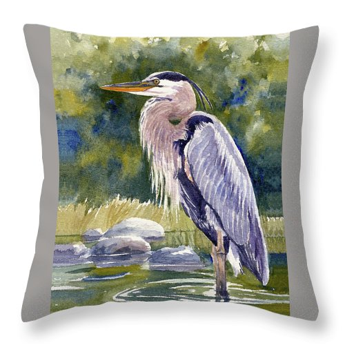 Great Blue Heron Throw Pillow featuring the painting Great Blue Heron In A Stream by Janet Zeh