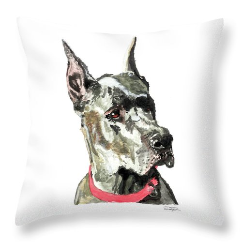 Great Dane Throw Pillow featuring the painting Great Dane Watercolor by Dan Pearce