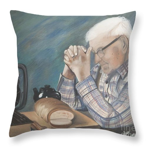 Great Grandpa Throw Pillow featuring the painting Great Grandpa by Jacqueline Athmann
