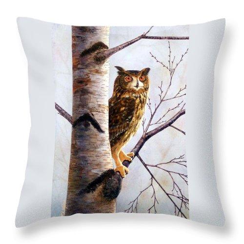 Great Horned Owl In Birch Throw Pillow featuring the painting Great Horned Owl In Birch by Frank Wilson