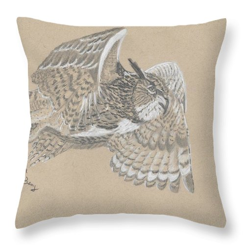 Great Horned Owl Throw Pillow featuring the drawing Great Horned Owl by Kendra DeBerry