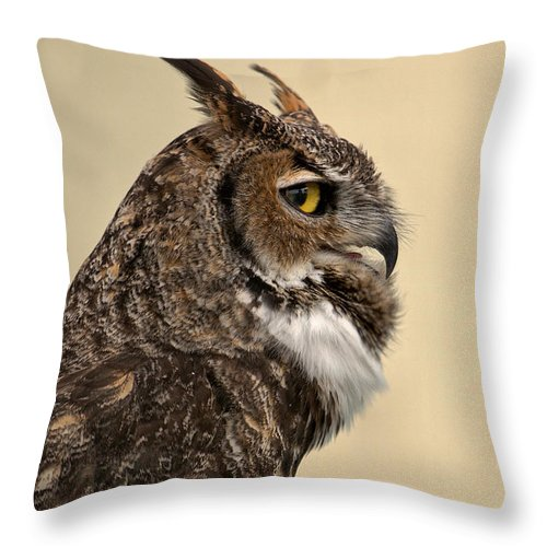 Great Horned Owl Throw Pillow featuring the photograph Great Horned Owl by Michael Gordon