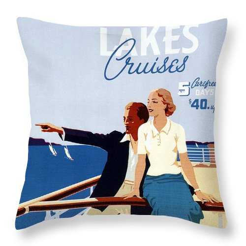 Canadian Pacific Throw Pillow featuring the mixed media Great Lakes Cruises - Canadian Pacific - Retro Travel Poster - Vintage Poster by Studio Grafiikka