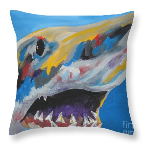 Shark Throw Pillow featuring the painting Great White by Caroline Davis