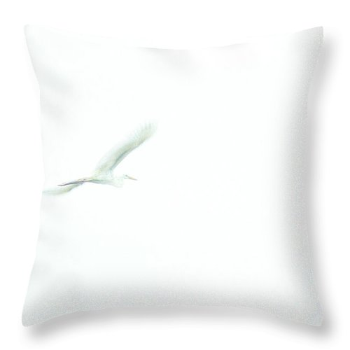 Great White Egret Throw Pillow featuring the photograph Great White Egret Impressionistic Style by John Harmon