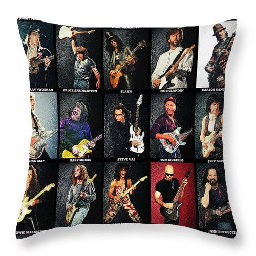 Guitar Throw Pillow featuring the digital art Greatest Guitarists Of All Time by Zapista OU