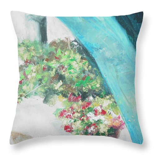 Archway Throw Pillow featuring the painting Greece Archway by Robin Miller-Bookhout