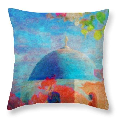Greece Throw Pillow featuring the digital art Greece by Jerome Stumphauzer