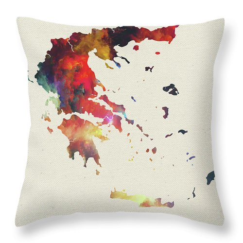 Greece Throw Pillow featuring the mixed media Greece Watercolor Map by Design Turnpike