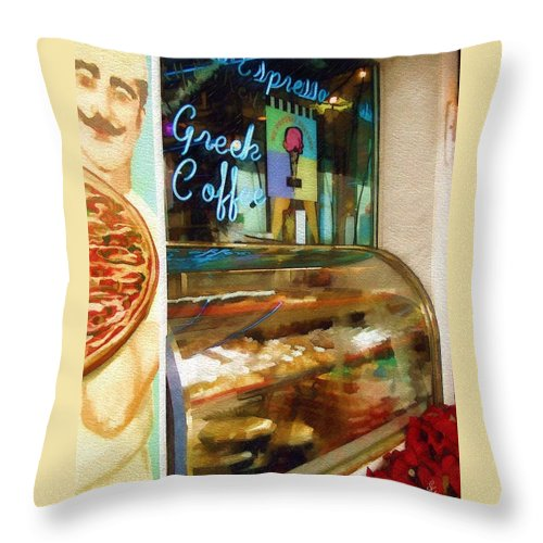 Greek Throw Pillow featuring the photograph Greek Coffee by Sandy MacGowan