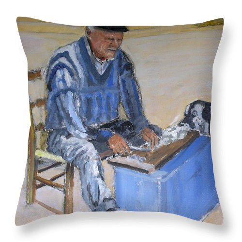 Bay Throw Pillow featuring the painting Greek Fisherman Crete by Mike Lester
