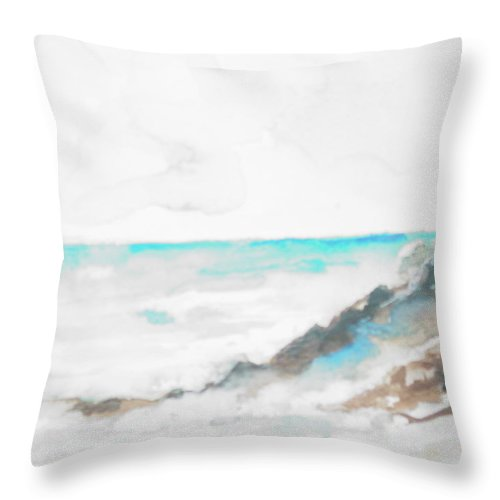 Rocks Throw Pillow featuring the painting Greek Isle by Robin Miller-Bookhout