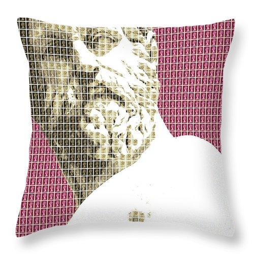 Greek Throw Pillow featuring the digital art Greek Statue #1 - Dark Red by Gary Hogben