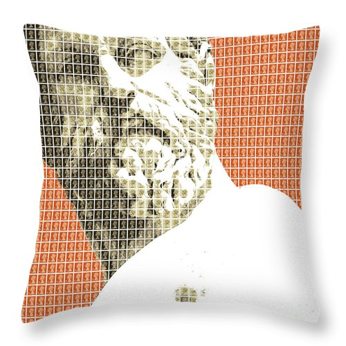 Greek Throw Pillow featuring the digital art Greek Statue #1 - Orange by Gary Hogben