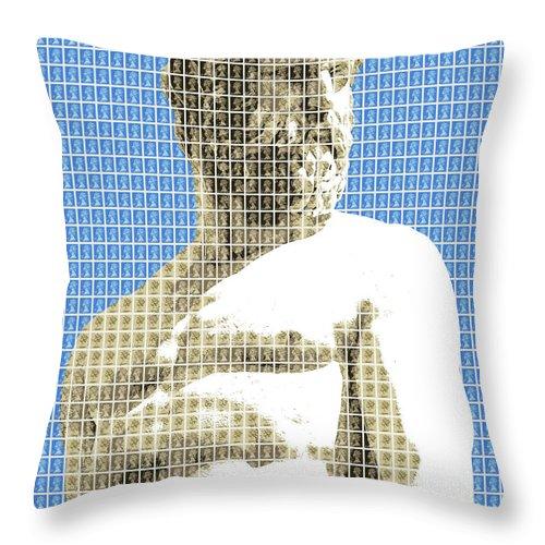 Greek Throw Pillow featuring the digital art Greek Statue #2 - Blue by Gary Hogben