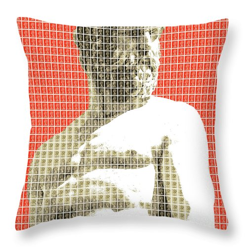 Greek Throw Pillow featuring the digital art Greek Statue #2 - Orange by Gary Hogben