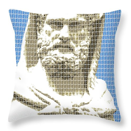 Greek Throw Pillow featuring the digital art Greek Statue #3 - Blue by Gary Hogben