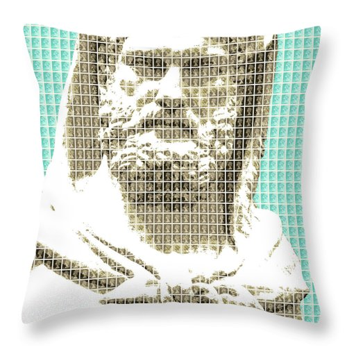 Greek Throw Pillow featuring the digital art Greek Statue #3 - Light Blue by Gary Hogben
