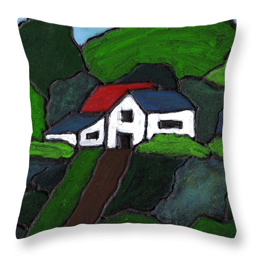 Rural Throw Pillow featuring the painting Green Acres by Wayne Potrafka