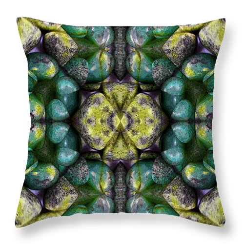 Creation Throw Pillow featuring the mixed media Green And Blue Stones 3 by Jesus Nicolas Castanon