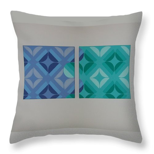 Two Piece Painting Throw Pillow featuring the painting Green And Blue With Envy by Gay Dallek