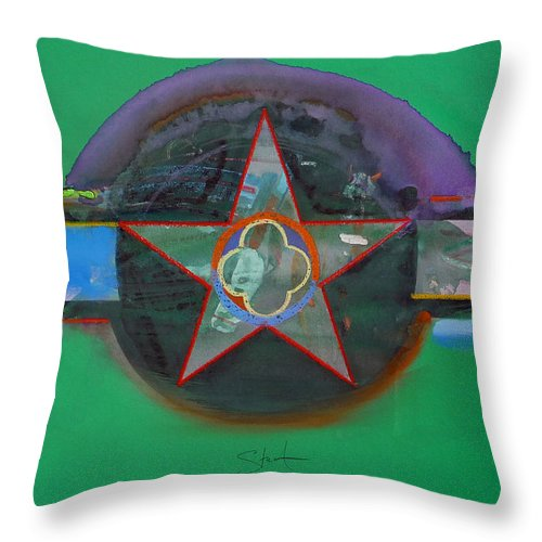 Star Throw Pillow featuring the painting Green And Violet by Charles Stuart