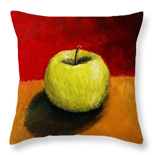 Apple Throw Pillow featuring the painting Green Apple With Red And Gold by Michelle Calkins