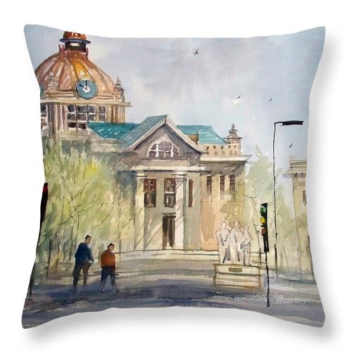 Watercolor Throw Pillow featuring the painting Green Bay Courthouse by Ryan Radke