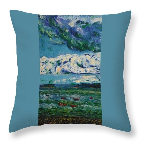 Landscape Throw Pillow featuring the painting Green Beach by Ericka Herazo