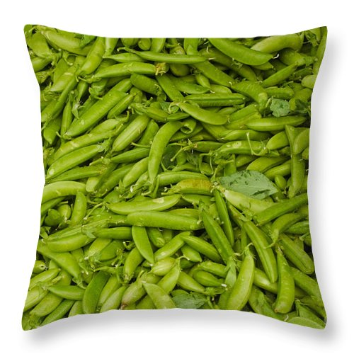Green Throw Pillow featuring the photograph Green Beans by Thomas Marchessault